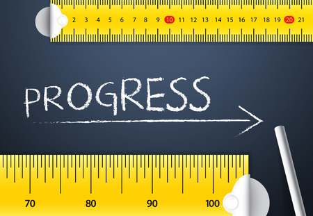 greater: Measuring Progress or Improvement Concept. Two different tape measuring progress word with chalk with metric system and imperial units, flat design. Various way of measuring progress management.