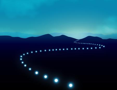 어둠 속에서 산 풍경을 가로 질러 방향 감각을 줄 길에 빛의 행과 성공 개념에 여행을 바랍니다.