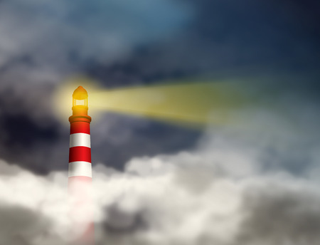Business vision concept. Guidance conquering adversity and looking for future concepts   represent by Lighthouse shining light beam into dark thick stormy clouds