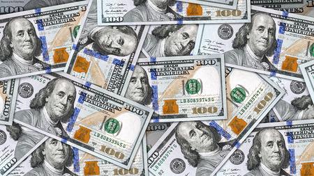 Geldhintergrund mit vielen neuen $ 100 Rechnungen. Bereit zum Einsatz als Hintergrund in 8K, 4K oder HD-Video-Film-Auflösung im 16: 9-Seitenverhältnis. Standard-Bild - 44629152