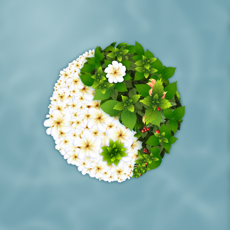 Yin Yang Spa in form of green leaves and  frangipani flowers petals with blue water