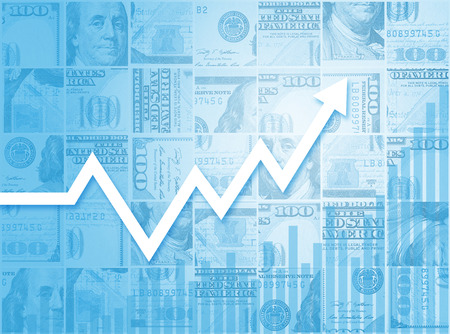 fluctuation: Business Growth Financial Bar Chart Graph Stock Photo