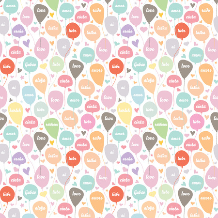 Pattern of balloon with love in various language and heart star shape which can be used as texture backdrop, wrapping paper graphic illustration.