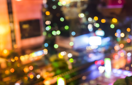 Abstract blurred night life light bokeh in city. Colorful playful and fun Bokeh Concept Stock Photo