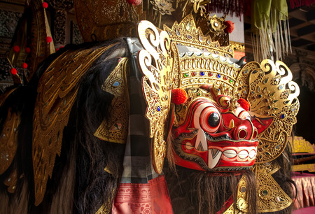 Traditional Barong mask in Bali indonesia Used in dance performance or religious ceremony
