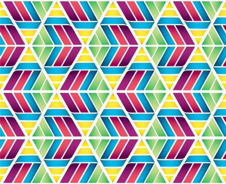 Colorful triangle hexagon seamless texture background. Honeycomb design Иллюстрация