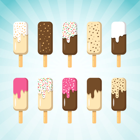 Set of Ice Cream on Stick in Many Flavor. Ice Creams are Chocolate, Vanilla and Strawberry with various Topping Ilustração