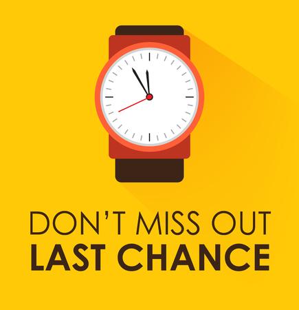 No se pierda el concepto de última oportunidad. Reloj cronómetro marcando sobre fondo amarillo. Diseño plano moderno