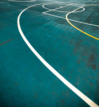 White lines in Blue Futsal Field. Boundaries Line in Futsal.