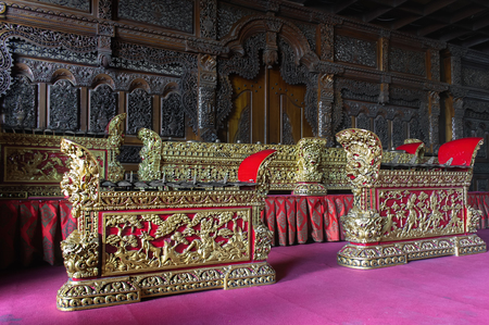Traditional Balinese Gamelan Being Kept on Bale Banjar. Bali Ensemble Percussive Musical Instrument for Religious Ceremony.