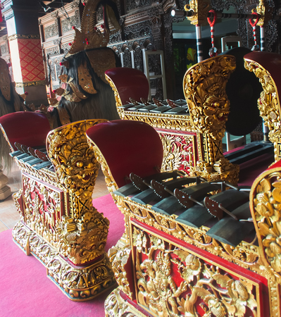 Traditional Balinese Gamelan. Bali Ensemble Percussive Musical Instrument for Religious Ceremony. Selective Focus. Stok Fotoğraf