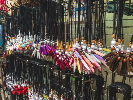 Various Collection of Bead Necklace on The Display by Street Seller Market.