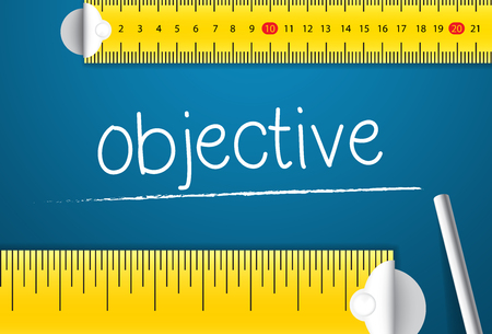 Measuring Business Objective. Concept of How To Measure Standards of Objectives. Two Different Measuring Tape with Chalk Standard-Bild - 123490460