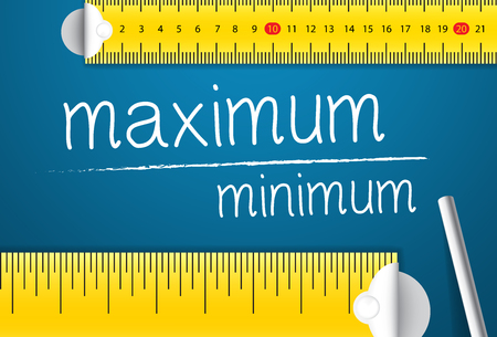 Measuring Maximum and Minimum Value. Concept of How To Measure Standards of Maximum and Minimum. Two Different Measuring Tape with Chalk Standard-Bild - 123490490