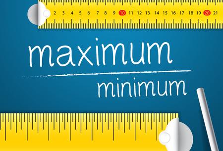 Medición del valor máximo y mínimo. Concepto de cómo medir estándares de máximo y mínimo. Dos cintas métricas diferentes con tiza
