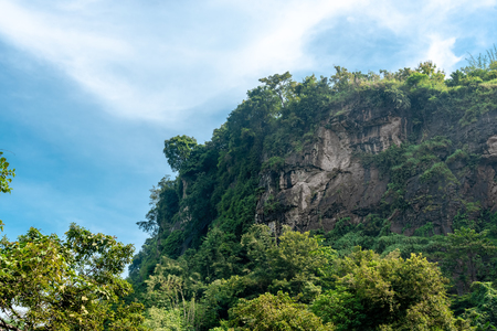 High Cliff Amid Dense and Thick Forest. Hanging Wall Rock Cause by Tectonic Subduction At Geopark Ciletuh. 免版税图像