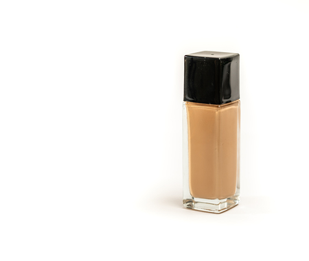 Rectangular Cosmetic Bottle Foundation on White Background. Close Up. Selective Focus. Standard-Bild - 123490530