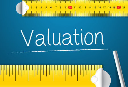 Measuring Valuation. Concept of How To Measure Standards of Valuation. Two Different Measuring Tape with Chalk Standard-Bild