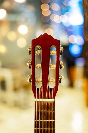 Guitar Head stock or Peghead with Blur Bokeh 免版税图像