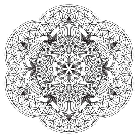 Mandala Intricate Patterns Black and White Good Mood. Flower Vintage decorative elements Oriental. Round ornament, mandala, ethnic decorative element, boho style, zentangle.