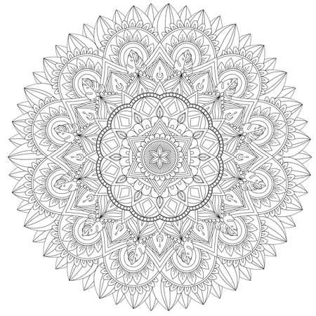 Mandala komplizierte Muster. Vintage dekoratives Muster. Handgezeichneter Hintergrund. Geeignet für den Druck auf Stoff und Papier. Arabische, islamische, indische, osmanische Motive. Sie können den Hintergrund ändern.