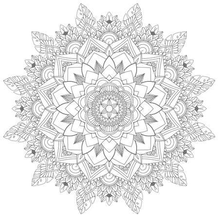 Patrones intrincados de Mandala. Patrón decorativo vintage Fondo dibujado a mano Adecuado para imprimir en tela y papel. Motivos árabes, islámicos, indios, otomanos. Puede cambiar el fondo. Foto de archivo