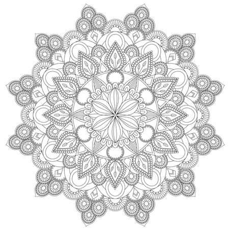 マンダラ複雑なパターン。ヴィンテージ装飾パターン。手描きの背景。布地や紙に印刷するのに適しています。アラビア語、イスラム教、インド語、オットマンモチーフ。背景を変更できます。