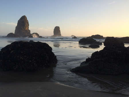 Waves Crashing on Oregon Coast Beach at Sunset