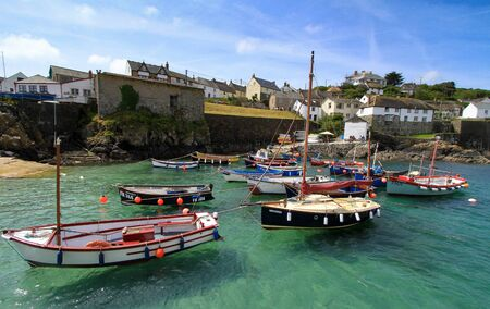 Sailing boats on the water at Coverack