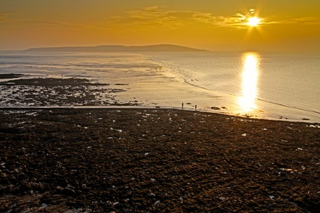 brean: Sunset over Brean Down Stock Photo