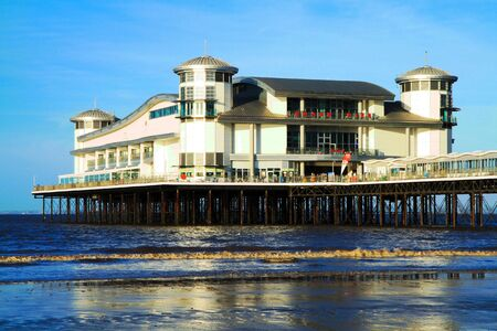 steep holm: The Grand Pier at Weston-super-Mare on a sunny day Editorial