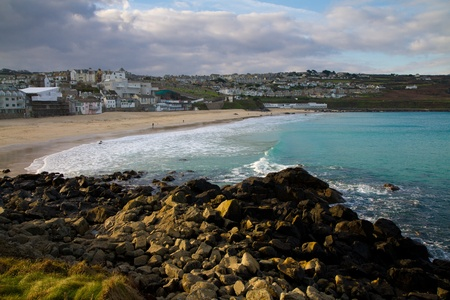 Porthmeor beach and bay near St Ives photo