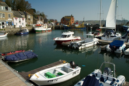 The harbour in Padstow fishing village in Cornwall, England