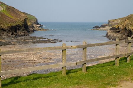 A view out to sea from Port Gaverne in Cornwall photo