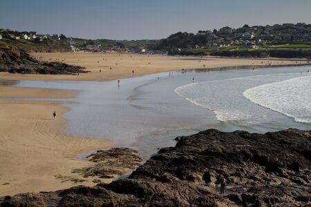 A view back towards Polzeath as th tide comes in on a beautiful day photo