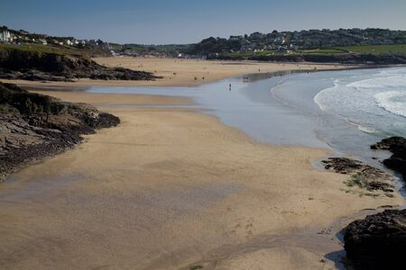 A view back towards Polzeath as the sea comes in  Stock Photo - 13055565