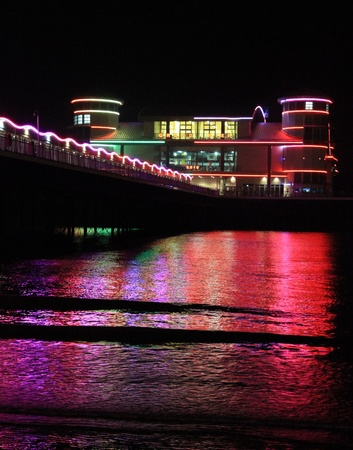 steep holm: The Grand Pier Weston-super-Mare at night time
