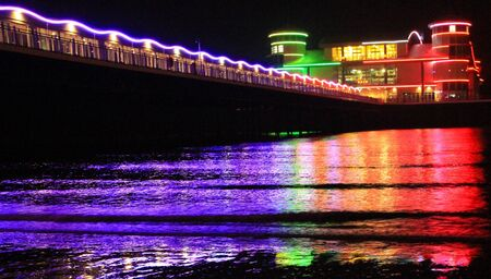 steep holm: The Grand Pier Weston-super-Mare at night Editorial