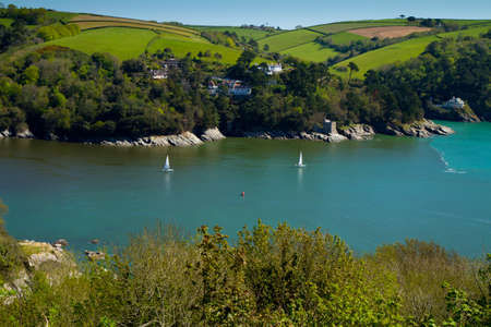 Sailing boats on the River Dart near Dartmouth Devon photo