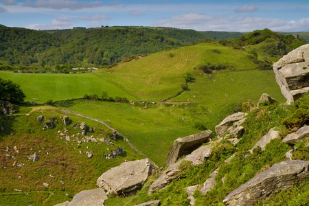 lynton: A view from the hill on the Valley of Rocks Lynton Devon Stock Photo