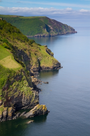 woody bay: Devon coastline near Lynton from the top of the Valley of the Rocks Stock Photo