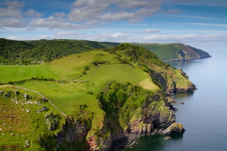 Beautiful Devon coastline near Lynton from the top of the Valley of the Rocks