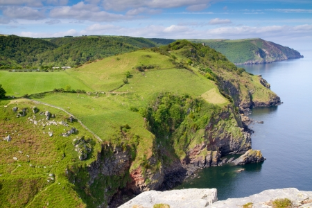 Devon coastline near Lynton from the top of the Valley of the Rocks Stock Photo - 14171926