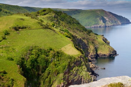 woody bay: Devon coastline near Lynton Stock Photo