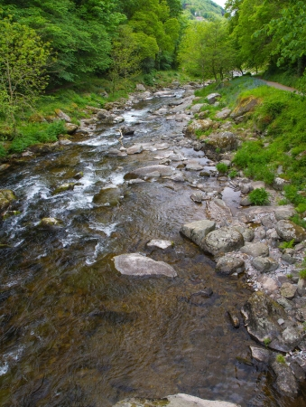 The view back from Watersmeet to Lynmouth Devon Stock Photo