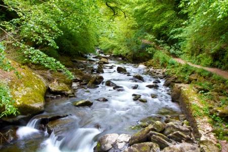 flowing river: El r�o Lyn Watersmeet cerca de Lynton, Devon Foto de archivo