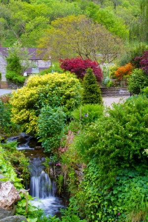 watersmeet: The gardens at Lee Bay near Lynton and Lynmouth Devon Stock Photo