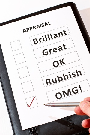 definition define: An alternative Performance Appraisal form Stock Photo