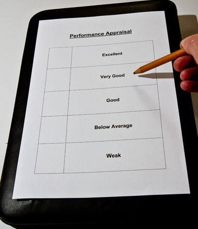 descriptions: A Performance Appraisal form about to be marked Stock Photo
