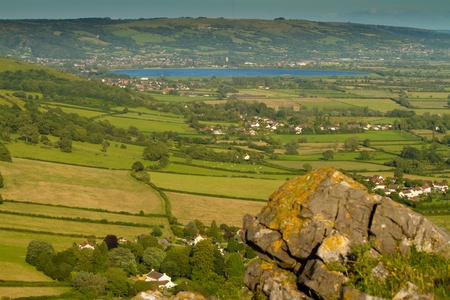Cheddar Reservoir in Somerset viewed from Crook Peak Stock Photo - 14491479
